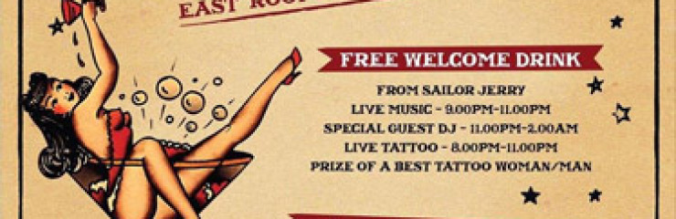 Tattoo Party with Sailor Jerry At EAST – Rooftop Bar & Lounge – Saturday 6th May 2017