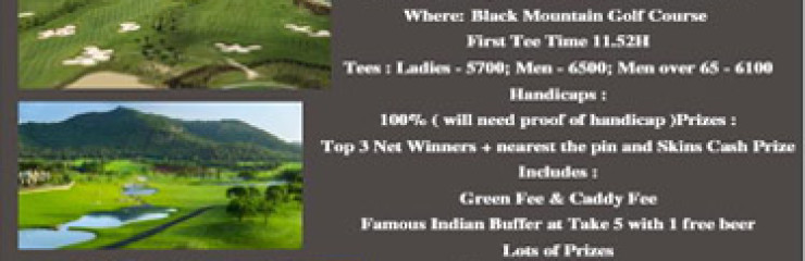 Monthly GOLF Tournament!! with Take 5 Sports Bar at Black Mountain Golf Course – 20th September 2017