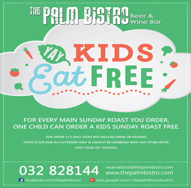 Free Roast for Children & The Coming Sunday Roast at The Palm Bistro & Wine Bar