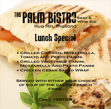 Lunch Special Only 199THB at The Palm Bistro & Wine Bar
