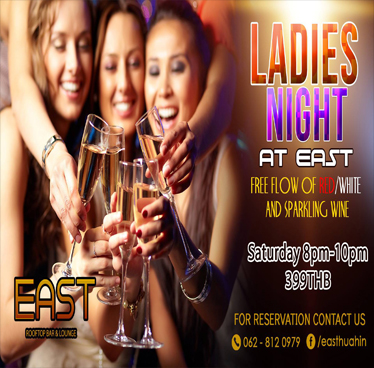 Ladies' Night w Free Flow of Wine & Sparkling Wine at EAST – Rooftop Bar & Lounge on 29th September 2018
