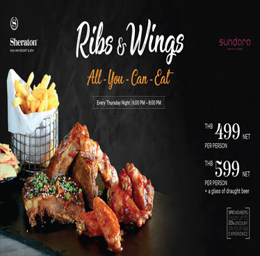 Ribs N' Wings Night All You Can Eat at Sheraton Hua Hin Resort & Spa – 27th September 2018