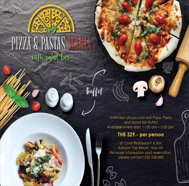 Offer Pizza & Pastas (Buffet) – Banyan The Resort Hua Hin Expires on 30th April 2018