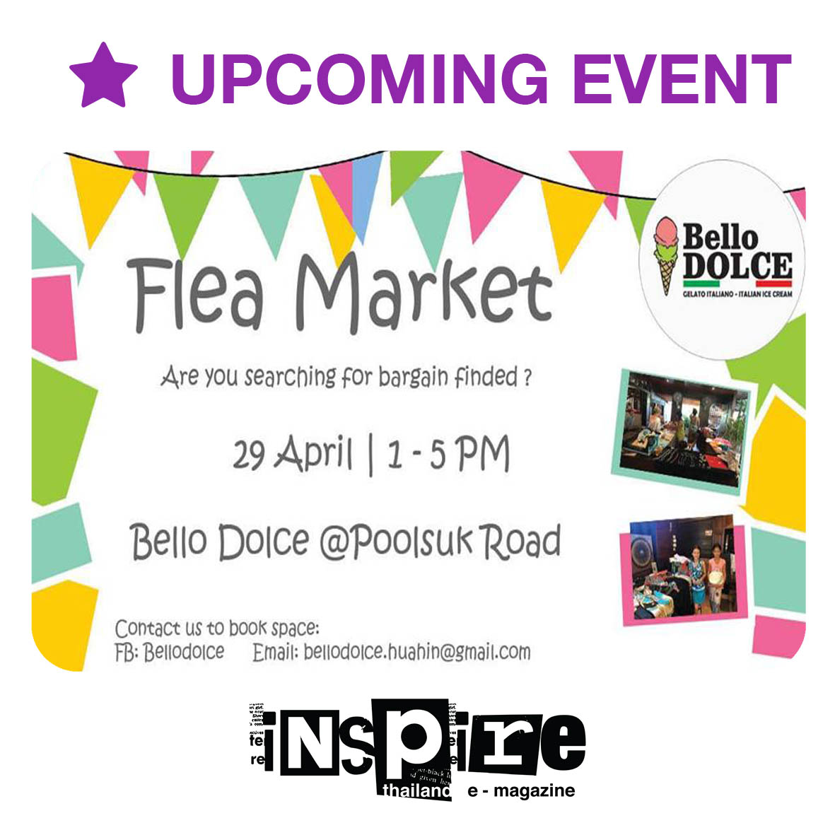 Flea Market at Bello Dolce – Sunday 29th April 2018
