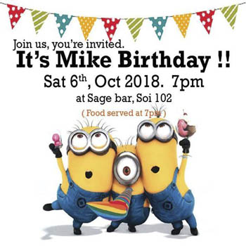 Mike's Birthday at Sage Bar & Guest House Hua Hin 102 – Saturday 6th October 2018